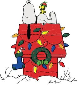 Snoopy on top of a Christmas-decorated dog house. Woodstock stands on his belly.